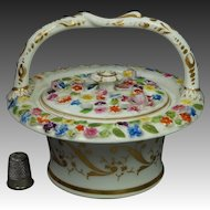 Antique 19th Century Porcelain Flower Encrusted Bough Pot Vase Pot Pourri Coalport Coalbrookdale