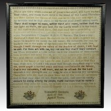 RARE Antique Sampler Victorian 1869 Very Intricately Stitched Revelations, Isaiah, Psalm 23
