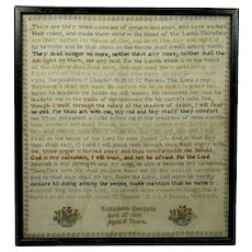 RARE Finest 19th Century Bible Verse Sampler Victorian 1869 Very Intricately Stitched Revelations, Isaiah, Psalm 23