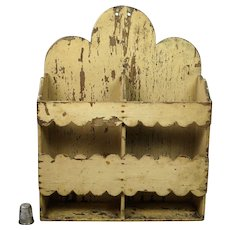 Antique Primitive Hanging Box, Candle Box, Spoon Rack Cream Painted Circa 1880