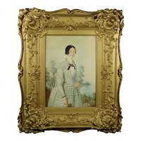 Antique  19th Century Portrait Of A Lady Blue Dress, Elaborate Rococo Frame Circa 1840