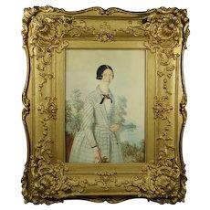 Antique  19th Century Portrait Of A Lady Blue Dress, Elaborate Rococo Frame Circa 1840