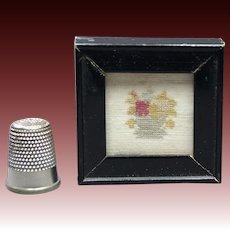 Antique Doll House Miniature Sampler Original Georgian Sampler Fragment Circa 1810