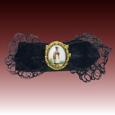 Antique Georgian Pinchbeck Bracelet Hand Enameled Porcelain Clasp Swiss Canton De Soleure Portrait Circa 1820