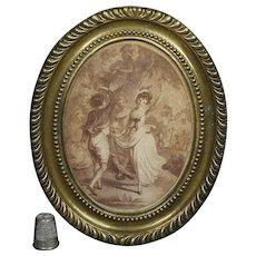 18th Century Miniature Georgian Sepia Stipple Engraving Charles Taylor Dancers Circa 1790