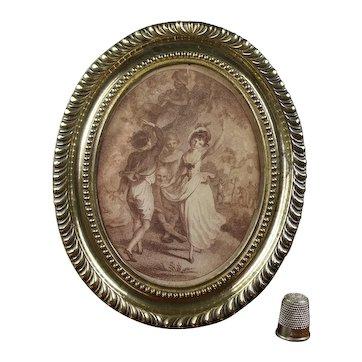 18th Century Miniature Sepia Engraving of Dancers, Georgian era Circa 1790 By Taylor Pupil of Bartolozzi