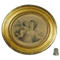 18th Century Engraving Cherub Bartolozzi Cipriani Gorgeous Oval Gilt Frame Circa 1785