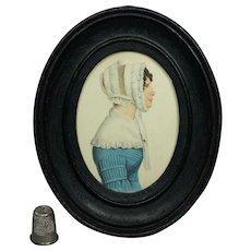 Stunning 19th Century Portrait Miniature Lady Blue Dress Bonnet Circa 1840 Folk Art