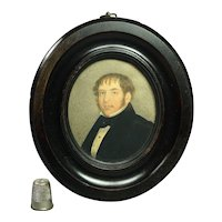 19th Century Portrait Miniature Watercolor John Issitt Circa 1840 Woodbridge, Suffolk, England
