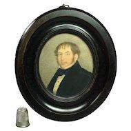 19th Century Portrait Miniature Watercolor John Issitt Circa 1840 Woodbridge, Suffolk, England