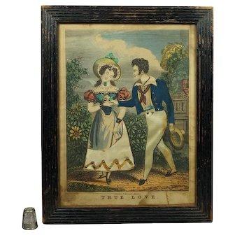 Romantic 19th Century English Tinsel Print True Love By John Fairburn Georgian Circa 1830