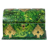 19th Century Victorian Gothic Faux Malachite Green Papier Mache Box William Tonks and Sons Circa 1860