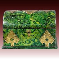 19th Century Victorian Gothic Faux Malachite Green Papier Mache Box William Tonks and Sons Circa 1860