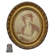 18th Century Georgian Miniature Sepia Engraving Lady Felicity by Francesco Bartolozzi after Angelica Kaufmann Circa 1781