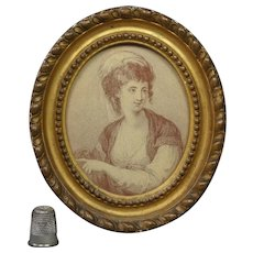 18th Century Georgian Miniature Sepia Engraving Lady Felicity by Francesco Bartolozzi after Angelica Kaufmann Circa 1781