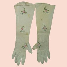 Antique Victorian Gloves French Kid Leather Polychrome Embroidered  Circa 1870s AF