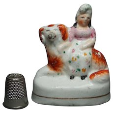 19th Century Miniature Staffordshire Spaniel Dog And Girl Figure Circa 1860