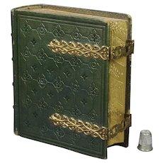 19th Century Victorian Green Leather Book CDV Photo Album Mechi and Bazin Circa 1860 Civil War Era