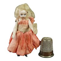 """Antique German All Bisque Miniature 2 3/8"""" Doll House Doll"""