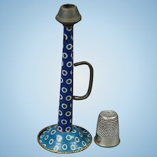 Antique Victorian Doll Miniature Toy Horn Trumpet Blue Polka Dot Tin Working Musical Instrument Circa 1900