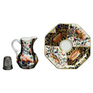 19th Century Doll Size Derby Imari Porcelain Miniature Wash Bowl And Jug Toilet Set, Stevenson And Hancock Period, Circa 1865