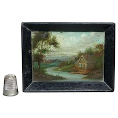 19th Century Doll Tray Miniature Rural Landscape Oil Painting On Slate Hand Painted Circa 1840