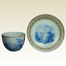 19th Century Regency Blue and White Porcelain Cup And Saucer Classical English Transferware Circa 1810