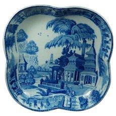 Early 19th Century Wedgwood Dessert Dish Chinoiserie Blue And White Transferware English Circa 1815 Pagoda Park pattern.
