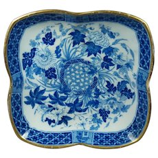 19th Century Wedgwood Dessert Dish Blue and White Transferware Pearlware Hibiscus Pattern Circa 1807 AF Rivet Repair