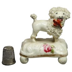 19th Century Miniature Staffordshire Porcelain Dog Poodle Circa 1850 Victorian