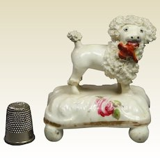 19th Century Miniature Staffordshire Porcelain Dog Poodle Circa 1850 Victorian