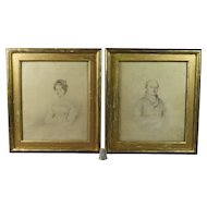 Antique 19th Century Pair Regency Pencil Drawing Watercolor Portrait Dated 1825 Reynolds Family