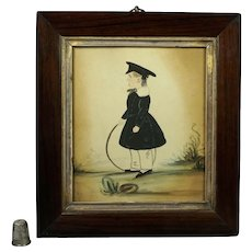19th Century Naive Folk Art Watercolor Portrait Child Georgian Circa 1830