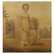 19th Century Georgian Watercolor Portrait Child By William Watkin Waite English 1823