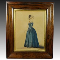 19th Century Naive Watercolor Portrait Of A Lady  by R and W Kerry 1845