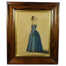 Antique 19th Century Full Length Watercolor Portrait Of A Lady, by R and W Kerry 1845