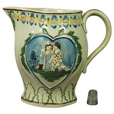 19th Century Prattware Jug Pitcher Doll Dog Children Sportive Innocence Circa 1810 Regency