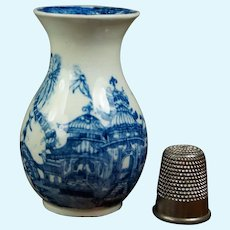 "RARE Georgian Miniature Toy Porcelain Vase, 2.5"" Doll Size, Blue And White Transferware Curling Palm Pattern, Circa 1805"