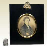 19th Century Portrait Miniature On Card of William Huxtable English Dated 1827