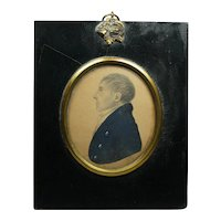 Georgian Rare J H Gillespie Portrait Miniature with TRADE LABEL, Gentleman James Lee Dated 1812