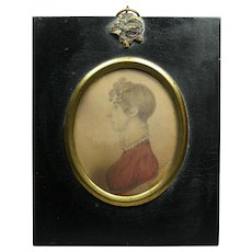 Rare Regency Period, J H Gillespie Portrait Miniature with TRADE LABEL, Lady - Ann Lee Dated 1812 English