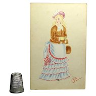 Victorian 1873 Watercolor Fashion Portrait Miniature Lady Tiered Dress Bustle Fur Muff Costume Historian Interest