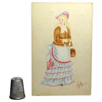 Victorian 1873 Watercolor Fashion Portrait Miniature Lady Tiered Dress Bustle Fur Muff Costume Historian Interest