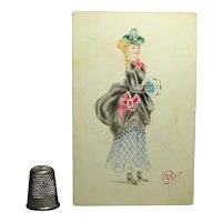 Victorian Watercolor Portrait Miniature Lady Bustle Dress Muff Circa 1873 Fashion Costume Interest