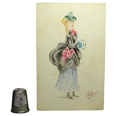 Victorian Watercolor Portrait Miniature Lady Bustle Dress Muff Circa 1873 Fashion Costume Interest