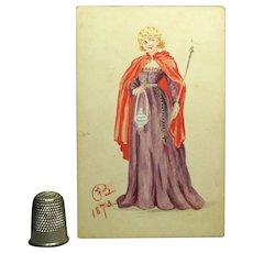 19th Century Portrait Miniature Watercolor Lady Princess Royal Costume Dress 1873 Victorian