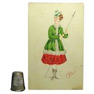 Victorian Watercolor Portrait Miniature Lady In Hunting Costume Circa 1873
