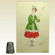Victorian Watercolor Portrait Miniature Lady In Hunting Costume Circa 1873