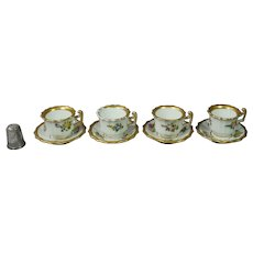 19th Century Doll Size Miniature Tea Cup And Saucer Set of Four Circa 1830 Georgian