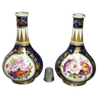 Georgian Miniature Derby Porcelain Bud Vase Pair Circa 1805 Cobalt Blue Florals AF